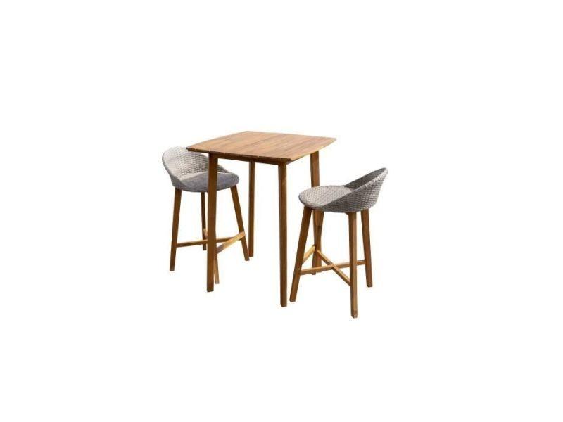 Ensemble repas de jardin type bar - table 80x80cm - en bois ...