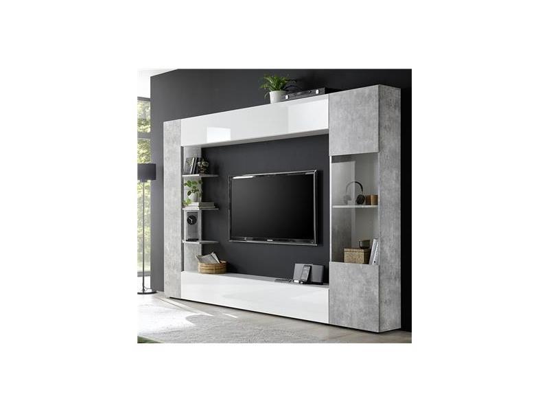 Meuble Tv Mural Blanc Et Beton Soprano 2 Vente De