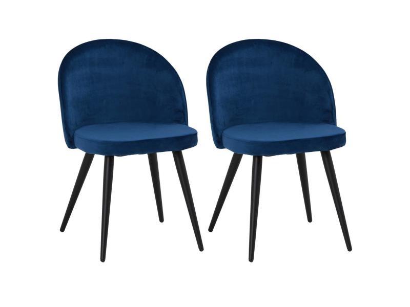 Lot De 2 Chaises Velvet En Velours Bleu Pour Salle A Manger Ou