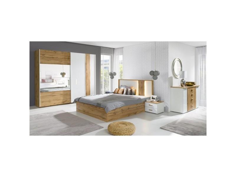 37804eb07fb Lit adulte design wood avec deux chevets + led dans la tête de lit ...