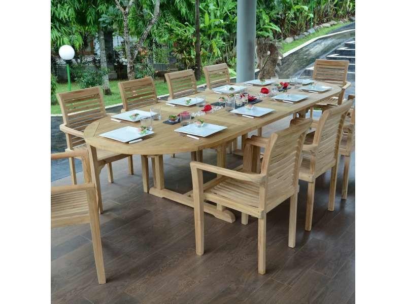 Table de jardin en teck extensible 300 x 110 cm - florence ...