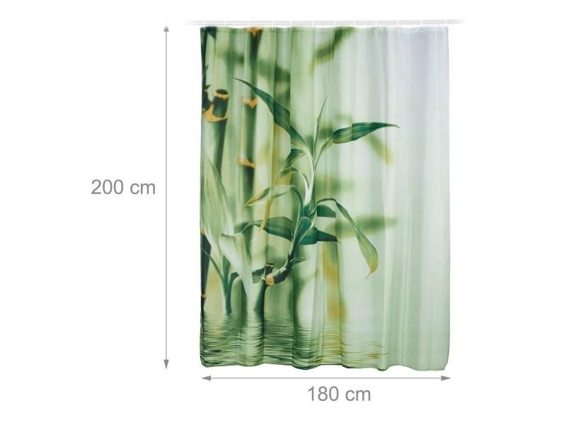 Rideau de douche avec anneaux motif bambou salle de bain 180 x 200 ...