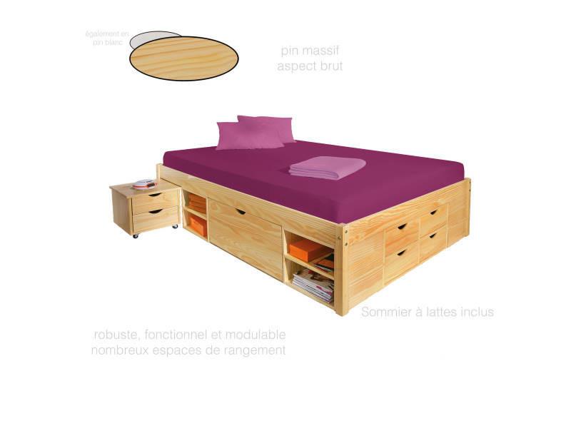 lit adulte 160x200 cm chevet int gr lit double avec. Black Bedroom Furniture Sets. Home Design Ideas
