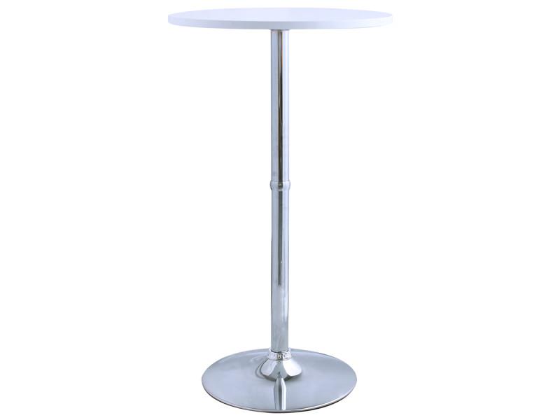 Duhome table de bar avec plateau en bois blanc et pied en métal chromé 208