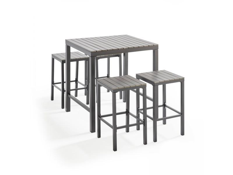 Table haute de jardin et 4 tabourets en aluminium - Vente de ...