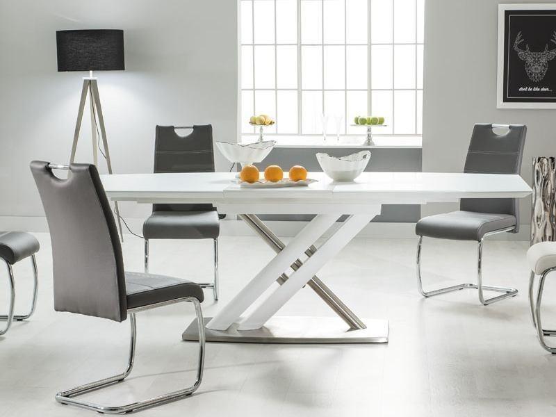 Table A Manger Rectangulaire Extensible U2013 L : 180 ÷ 230 Cm X P : 95 Cm X H  : 76 Cm U2013 Blanc/ Gris
