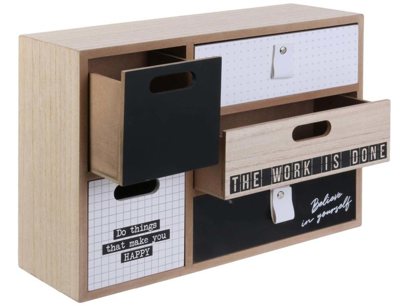 Petit rangement 5 tiroirs happy working - Vente de DITES LE AVEC DES MOTS - Conforama