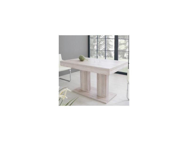 Table helios 2 allonges / chêne blanchi