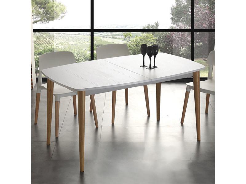 Vente En Blanc Scandinave Hêtre Bois Table De Cm 185 Effet Et Loki Ib76myfYgv