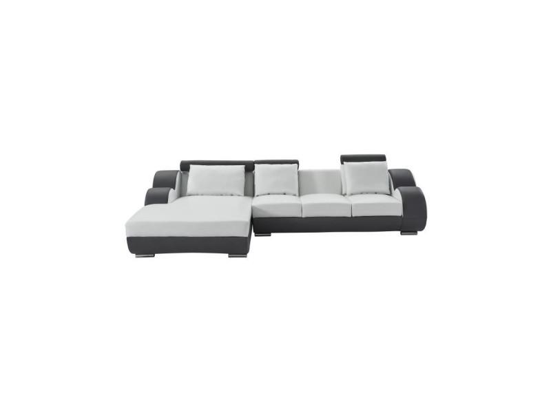 Damien canapé de relaxation d'angle gauche fixe 6 places - simili blanc et gris anthracite - contemporain - l 188 x p 160 cm