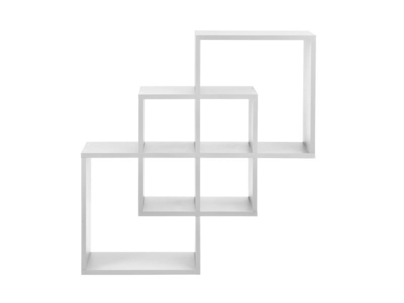 [en.casa] étagère murale blanc mat design rétro model 14