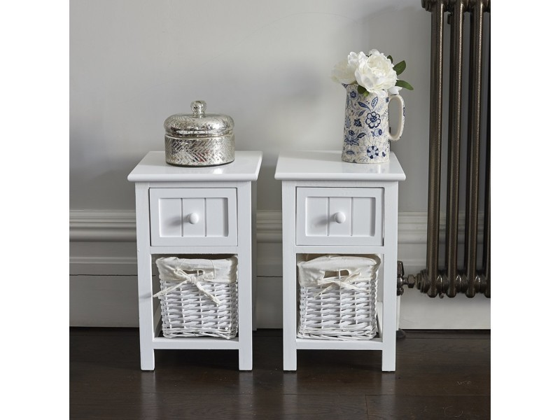 Lot De 2 Table De Chevet Style Shabby Chic Blanc Avec Unites De