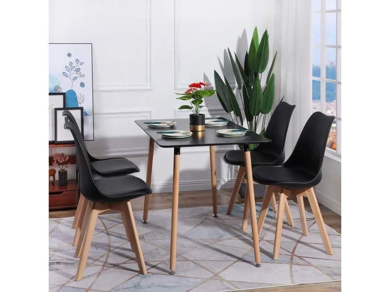 Lot de 4 chaises de cuisine en a manger design contemporain scandinave pieds bois de chene - noir
