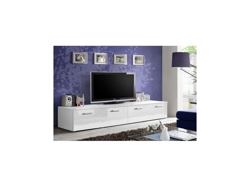 Grand meuble tv duo 200x35x45 cm - corps blanc mat/ front blanc de haute brillance 23 WW DU