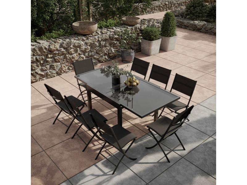Table de jardin extensible aluminium verre 90/180cm + 8 chaises ...