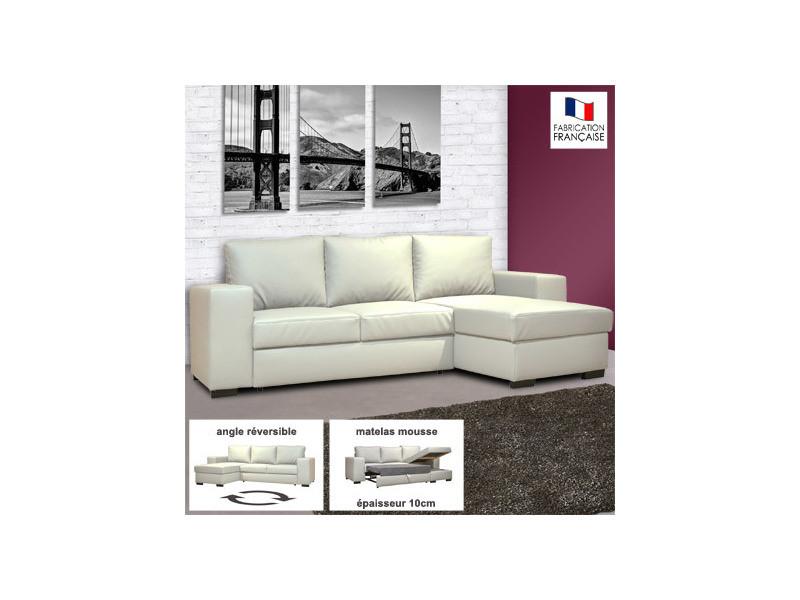 Canapé d'angle réversible convertible en pu coloris blanc - stewart