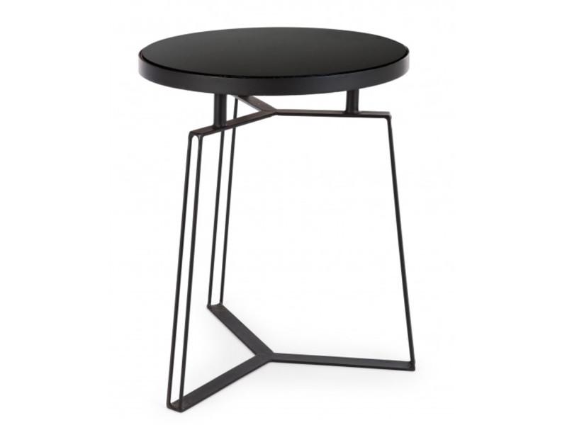 Table basse coloris noir en fer et verre - ø 40 x h 50 cm - pegane -