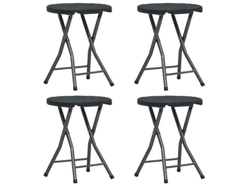 Admirable fauteuils et chaises edition moroni tabourets pliables de jardin 4 pcs noir pehd aspect de rotin