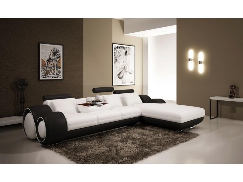 Canapé d'angle avec méridienne blanc et noir oslo (angle droite)-