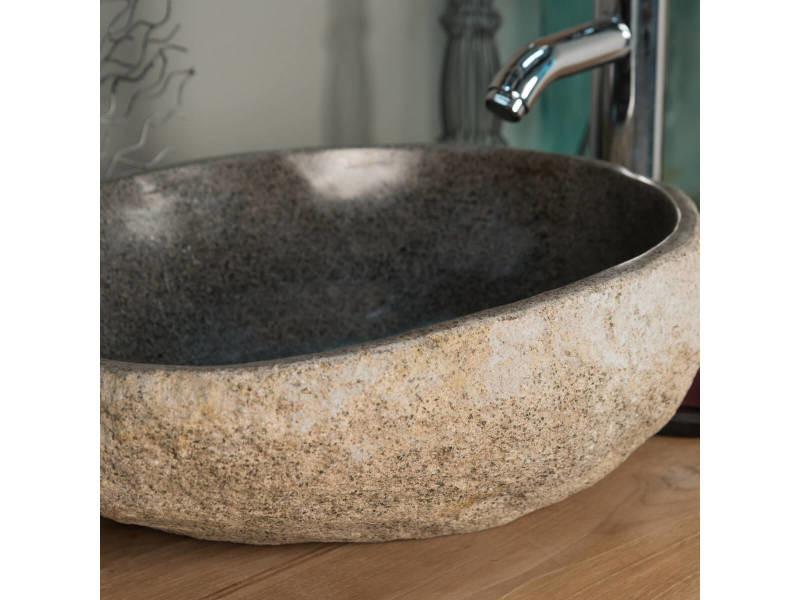 Vasque à Poser En Pierre Naturelle Galet De Riviere 40 Cm 32016