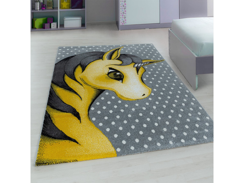 Tapis rectangle pour chambre de bébé licorne willis jaune 80x150 ...