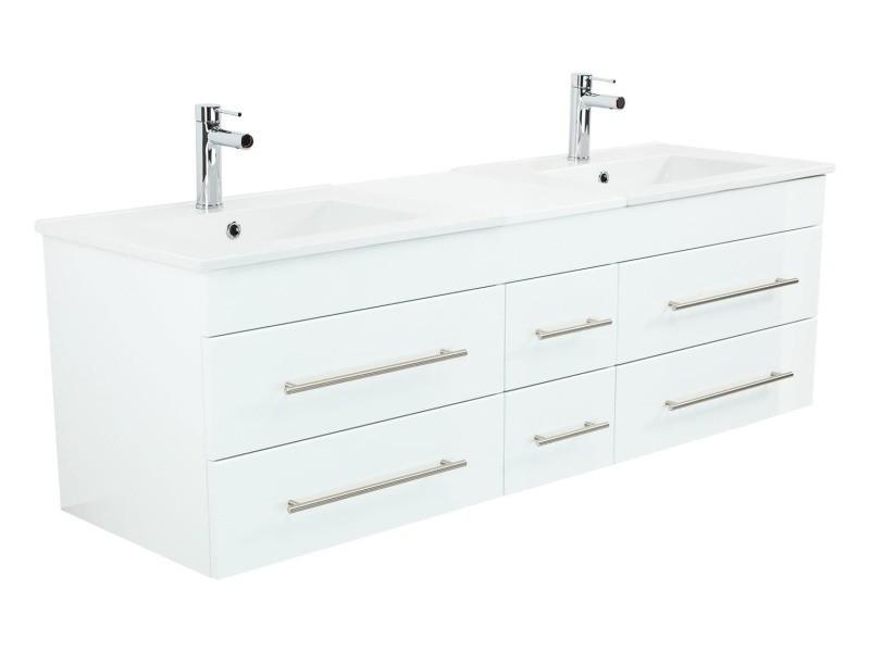 Meuble salle de bain double vasque roma xl blanc brillant ...
