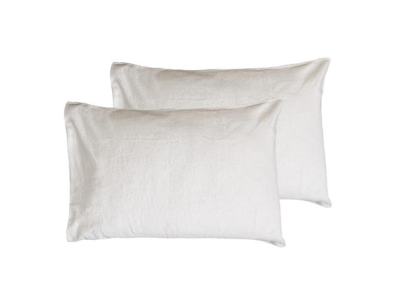 Lot de 2 protège oreillers en coton secure - blanc - 50x70 cm