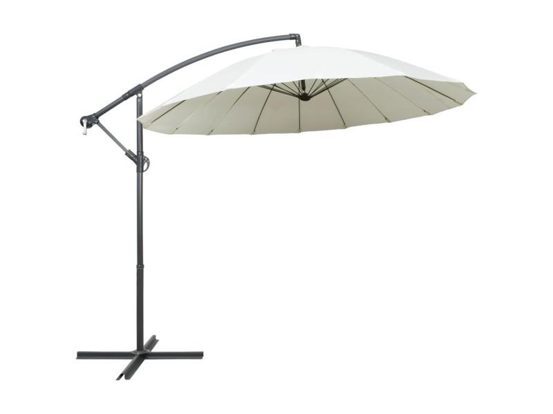 Parasol suspendu blanc 3 m aluminium 47220