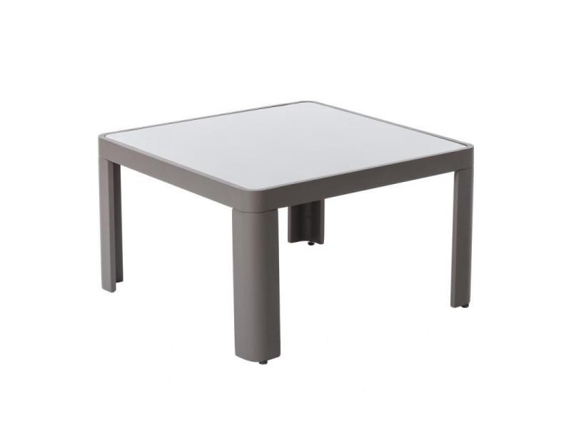 Table basse d\'extérieur aluminium/verre gris - flores - l 70 x l 70 x h 40  ...