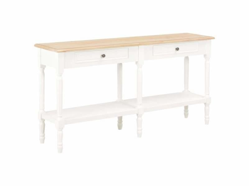Buffet bahut armoire console meuble de rangement blanc et marron 150 cm bois massif helloshop26 4402207