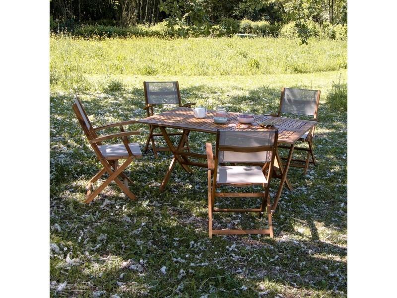 Salon de jardin en bois d\'acacia fsc gris 4 places - Vente ...