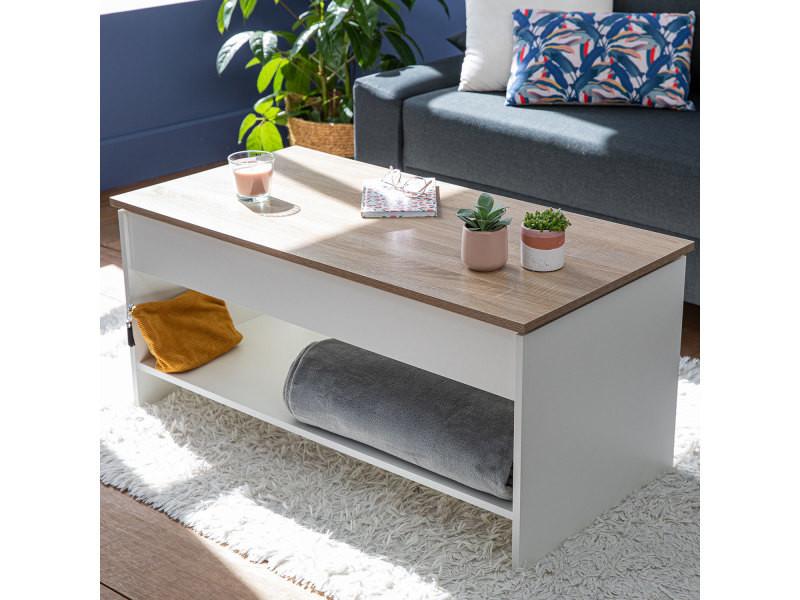 Table basse avec plateau relevable blanche et bois hedda