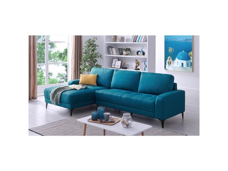 Canapé d'angle avec méridienne en tissu bleu lohana - angle gauche