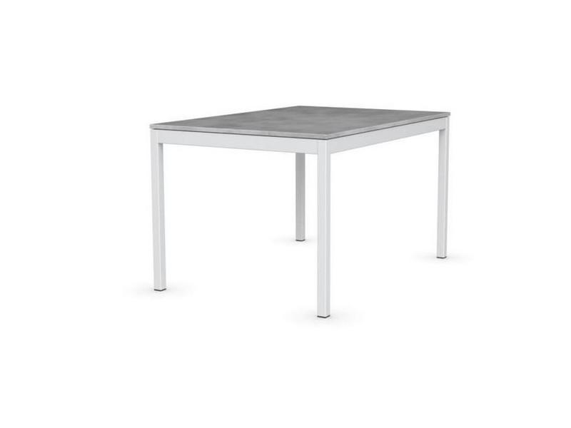 Table extensible snap gris béton piétement laqué blanc 120x80 cm 20100865083
