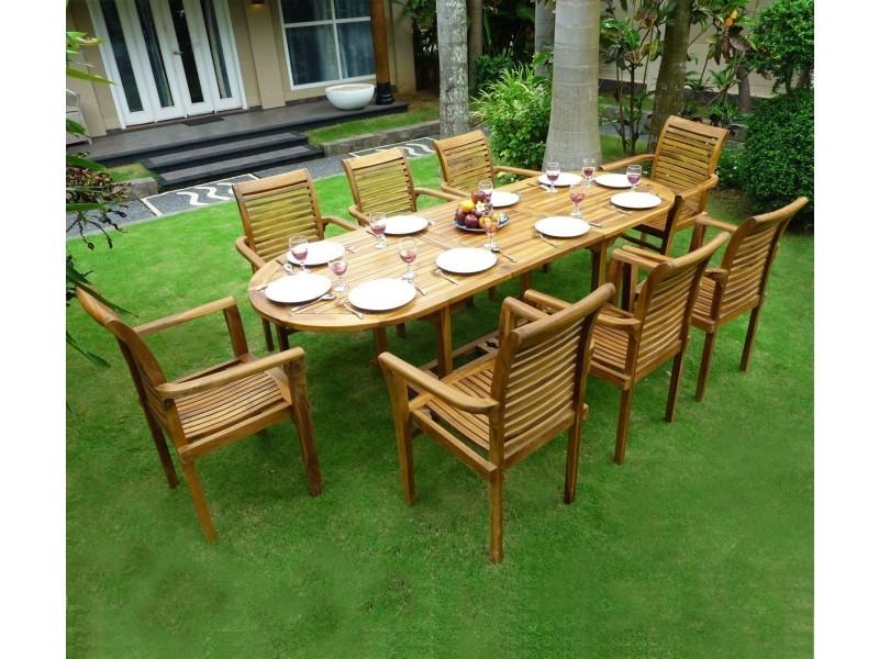 Salon de jardin en teck 8 fauteuils de jardin en teck ...