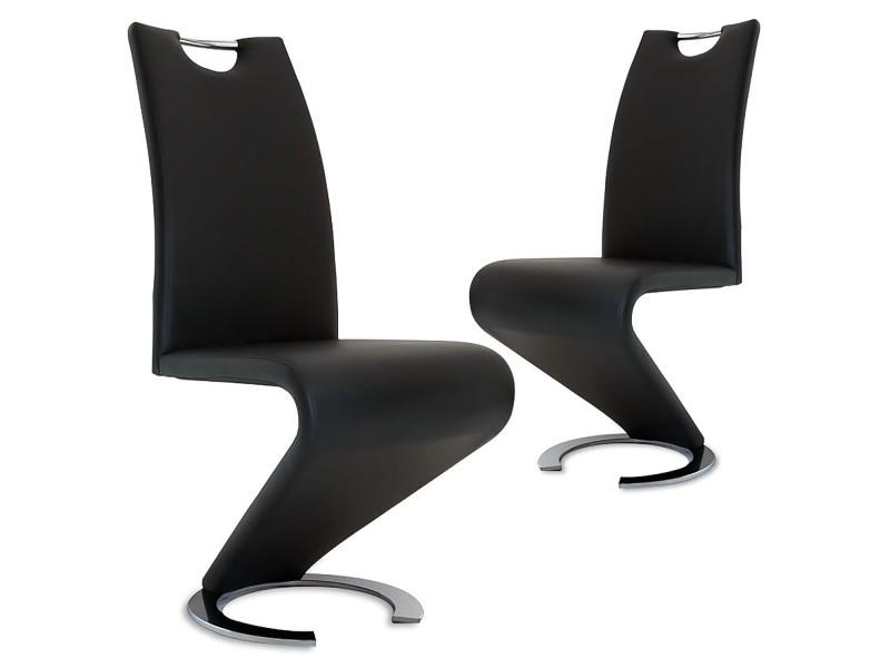 Kiza - lot de 2 chaises design en simili cuir noir