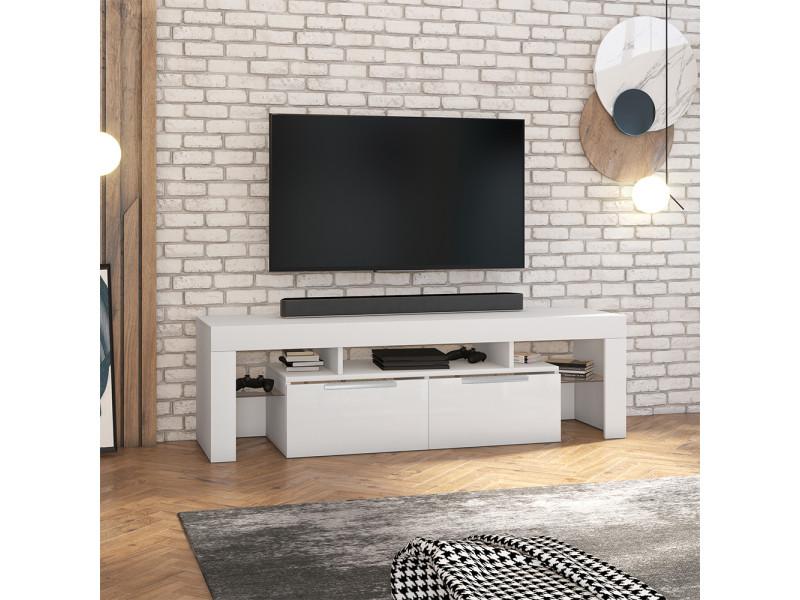 Meuble tv - vergon - blanc mat / blanc brillant