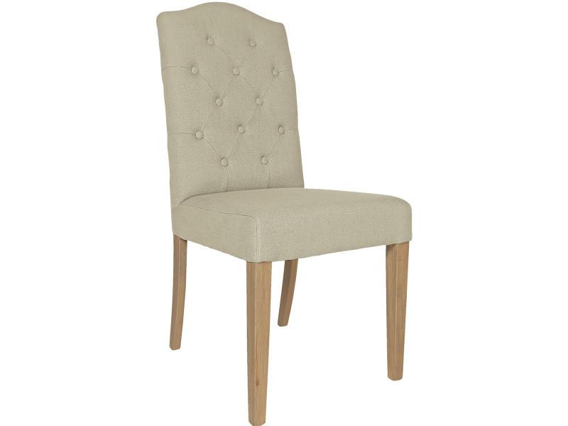 Chaises de salle à manger capitonné tissus lin beige clair ...
