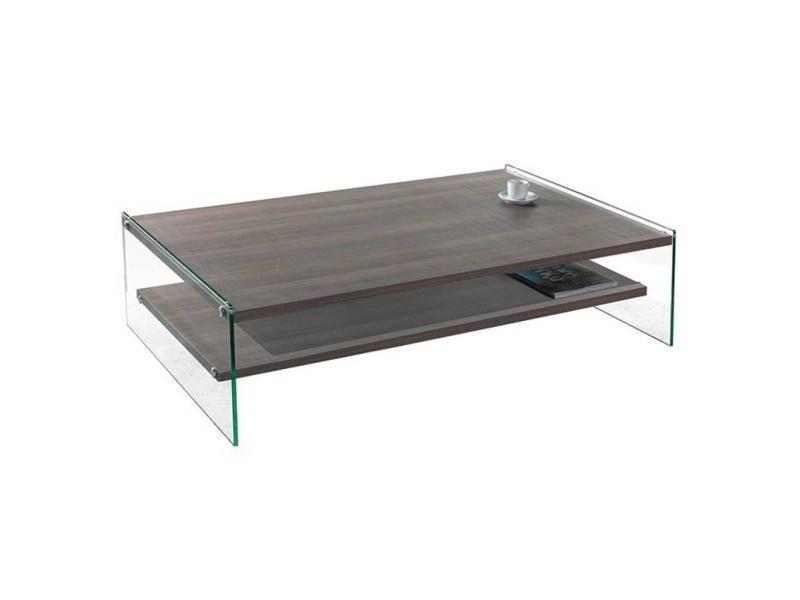 Table basse rectangle bella 2 plateaux coloris noyer piétement en verre 20100847207