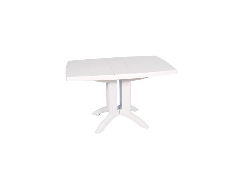 Table rectangulaire de jardin 160x110 cm - pliable - blanc - couleur ...
