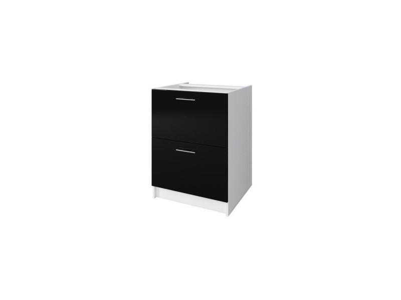 Obi meuble bas casserolier avec 2 tiroirs l 60 cm - blanc et noir laqué brillant
