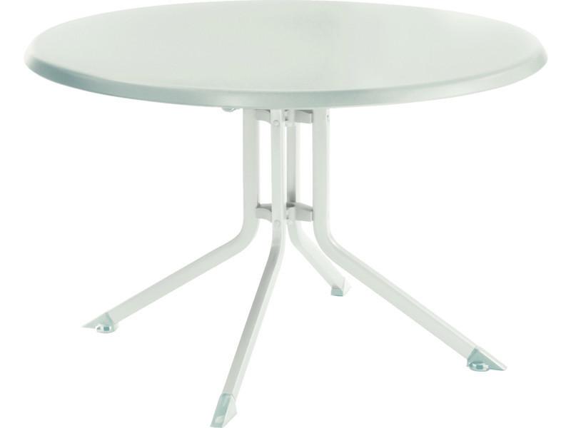 Table de jardin pliante en aluminium, blanc/blanc - dim : ø 115 x h ...