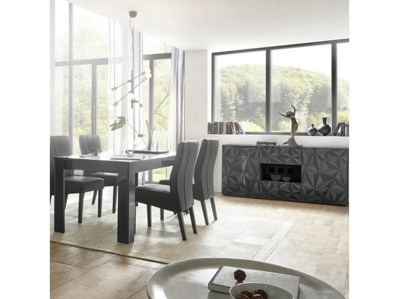 Salle à manger grise laquée design buffet 2 portes 2 tiroirs ...