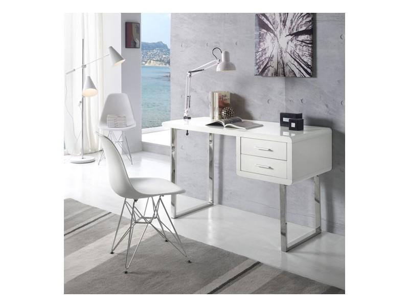 Bureau moderne et design maja blanc & chrome 185x38 2tiroirs par