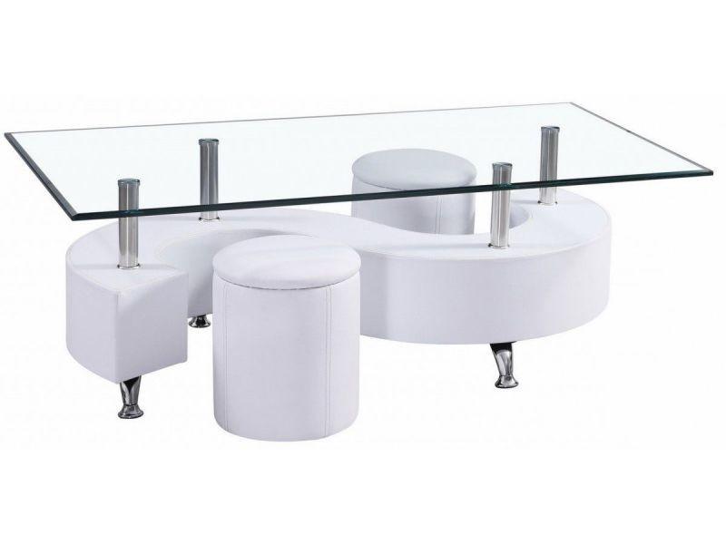 Table Basse En Verre Avec 2 Poufs Pvc Blanc P 169 Co Topaze