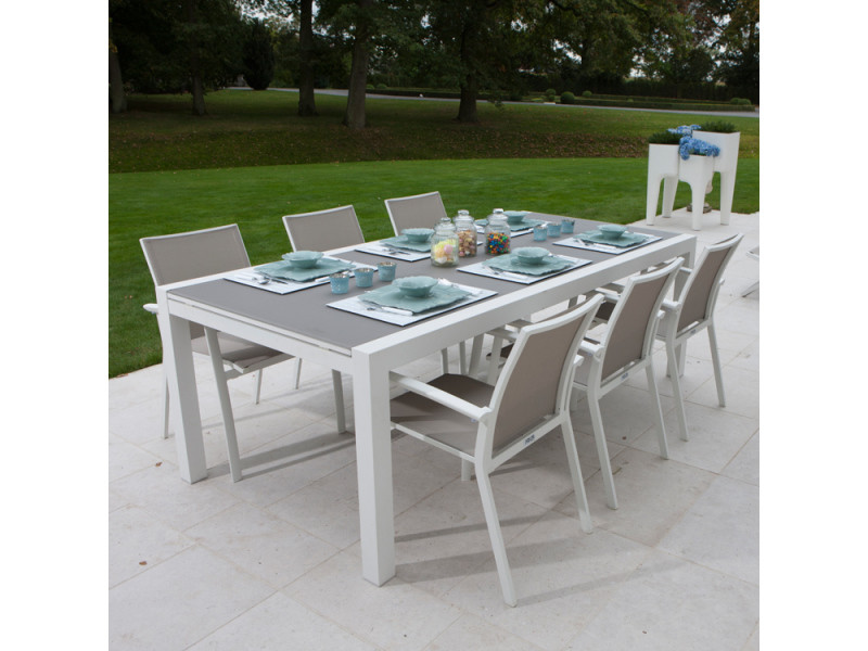 Table alu blanc et verre gris 220/330x106 cm murray