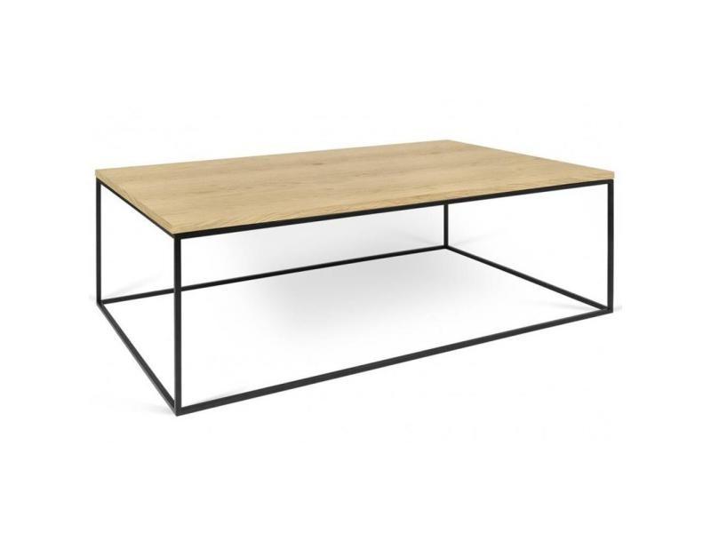 Table basse rectangulaire gleam 120 plateau chêne structure laquée noir mat. 20100864897