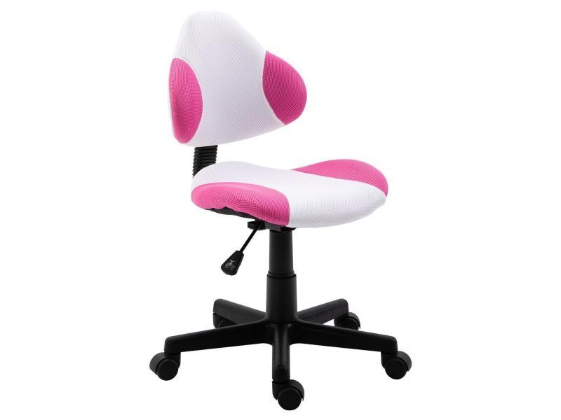 Chaise De Bureau Pour Enfant Osaka Fauteuil Pivotant Avec Hauteur Reglable Revetement En Mesh Blanc Pink