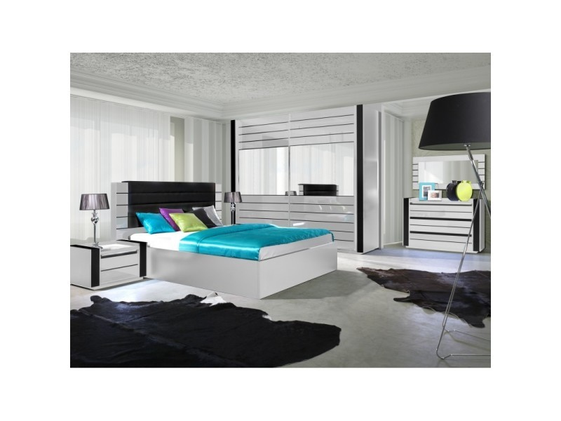 Chambre coucher compl te lina blanche et noire brillante - Chambre a coucher complete conforama ...