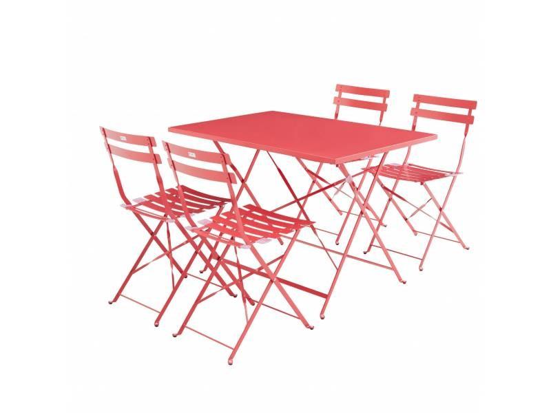 Salon de jardin bistrot pliable emilia rectangulaire rouge framboise ...